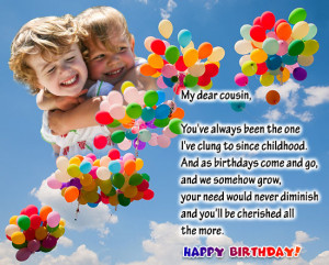 Great birthday wish for a dear cousin sister