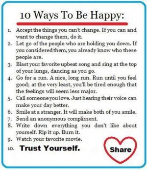 10 ways to be happy 10 ways to be happy