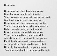 Remember - Christina Rossetti More