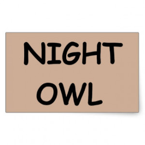 NIGHT OWL PERSONALITY SAYINGS RECTANGULAR STICKER
