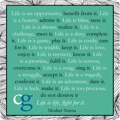 But Mother Teresa's words don't prioritize positivity. She's ...