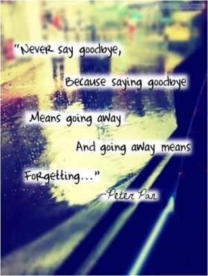 Never Say Goodbye, Because Saying Goodbye Means Going Away