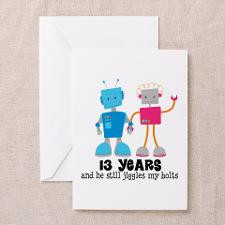 13 Year Anniversary Robot Couple Greeting Card for
