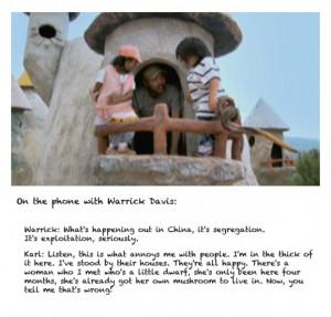 Karl discussing the Chinese dwarf village with Warrick Davis…