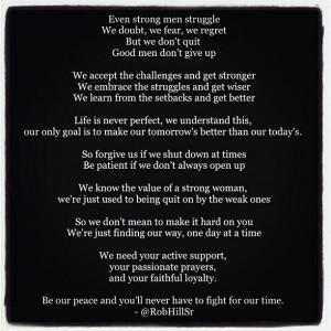 Rob Hill Sr. Good Men. Truth. Quotes