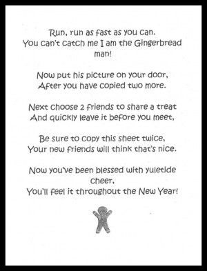Cheer Gingerbread Man Poem