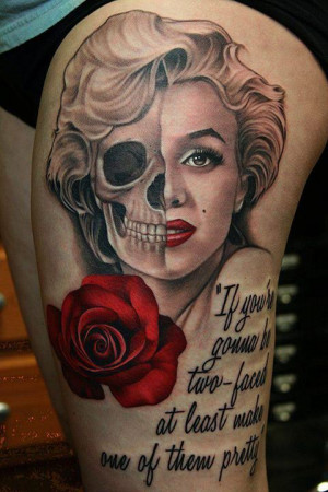 19. Marilyn Monroe Tattoo With Skull, Quotes And Rose