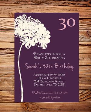 , 40th, 50th Birthday, Adult Flower Birthday, Ivory Flower, Purple ...
