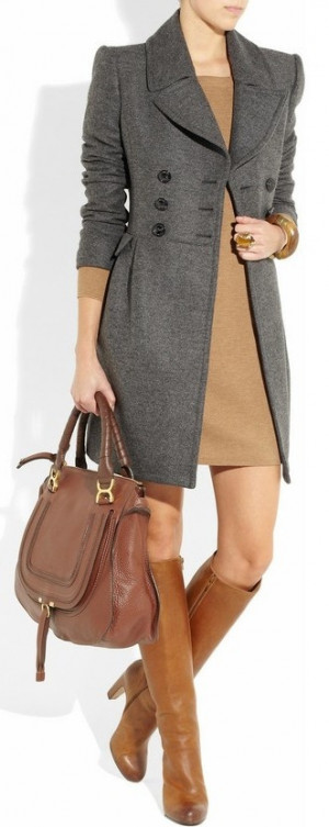 Burberry London. Love the coat, the dress is way too short for court.
