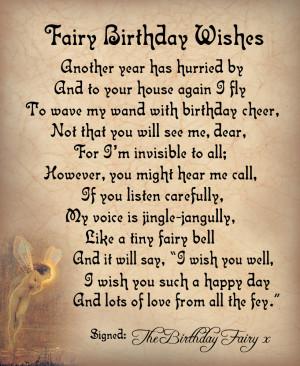 Fairy Birthday Wishes Poem