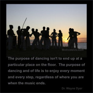 An inspiritional picture of people dancing on a beach with the quote ...