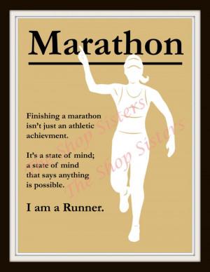 Marathon Runner Woman Inspirational Silhouette 8 x 10 Print Wall art ...