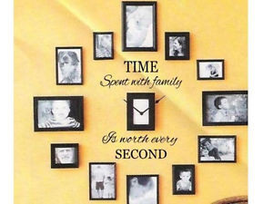 TIME-SPENT-WITH-FAMILY-Wall-Quote-DIY-Home-Decor-Clock-Sticker-Vinyl ...