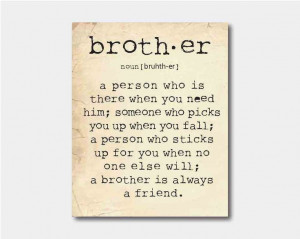Wall Art - A brother is a person ... Brother Quote - Typography - Room ...