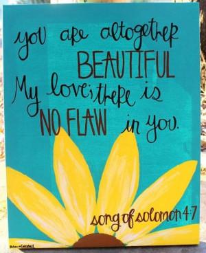 Sunflower bible verse scripture canvas painting: Solomon 4 7, Little ...