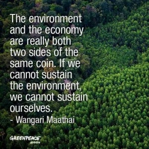 ... Economy Are Really Both Two Sides Of The Same Coin - Environment Quote