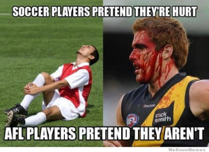 Soccer players pretend they're hurt – afl players pretend they ...