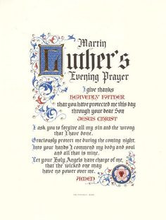 Martin Luther's Evening Prayer More
