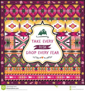 Navajo seamless tribal pattern with quotes on labels.