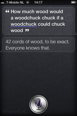 Siri: How much wood would a woodchuck chuck if a woodchuck could chuck ...
