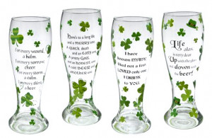 ... Day! > Pilsner Glasses Tall 20 Ounce - with Shamrocks and Irish Toasts