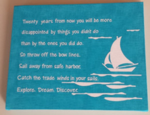 blue and white canvas poster with sailboat detailing to dream and ...