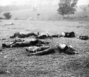 Gettysburg, Pa. Bodies of Federal soldiers, killed on July 1, near the ...
