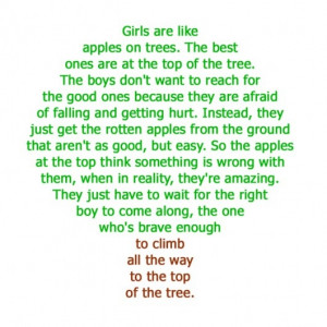 Girls are like apples on trees…