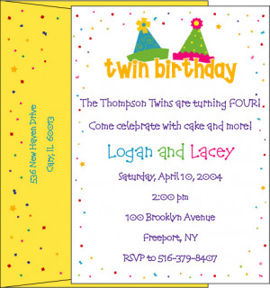 boy girl twin birthday party hat invitations twinstuff personalized ...