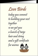 Love Birds - a funny wedding & marraige congratulations poem card ...