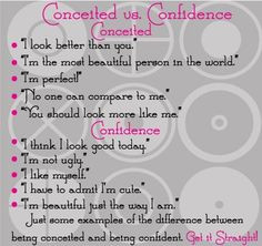 ... person who calls a confident person conceited has no confidence! More
