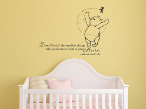 Classic Winnie the Pooh Sometimes the smallest things baby quote vinyl ...