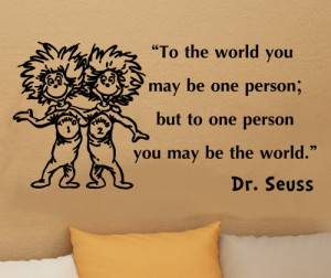 Dr Seuss Thing 1 Thing 2 Inspirational Wall Quote Vinyl Art Decal ...
