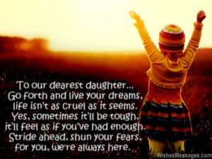 Inspirational quote for daughter from mom and dad