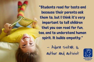 ... empathy. - Adora Svitak, 16, author and activist #quote #reading