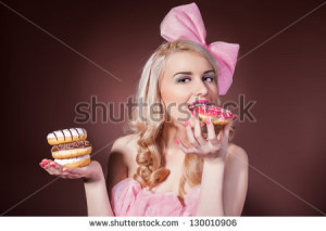 stock-photo-donuts-funny-woman-eating-donuts-smiling-in-studio ...