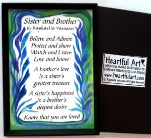 SISTER BROTHER Poem MAGNET Original Words Family Appreciation Sayings ...