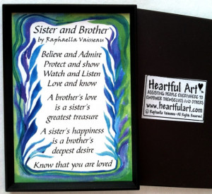 SISTER BROTHER Poem MAGNET Original Words Family Appreciation Sayings ...