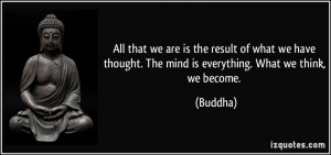 ... we have thought. The mind is everything. What we think, we become