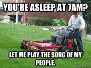 Funny Lawn Mower Grass Cutter Neighbour Joke Meme Picture Photo Image