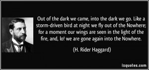 Out of the dark we came, into the dark we go. Like a storm-driven bird ...