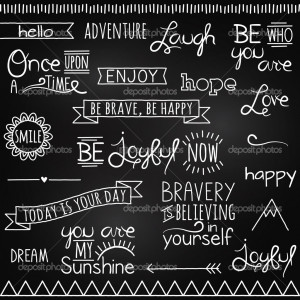 Hand Drawn Chalkboard Style Words, Quotes and Decoration - Stock ...