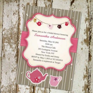 Printable pink and brown bridal shower tea party invitations