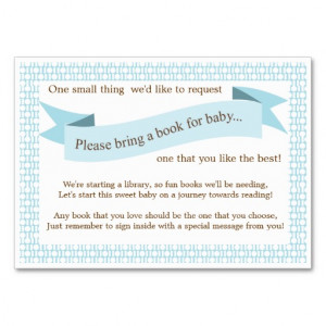 Blue Baby Shower Book Insert Request Card Large Business Cards (Pack ...