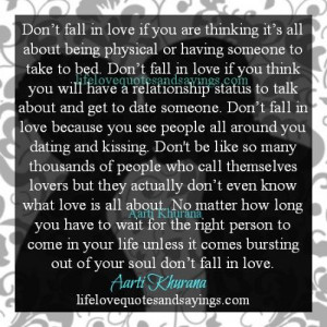 Don't Fall In Love Just To Get Physical..