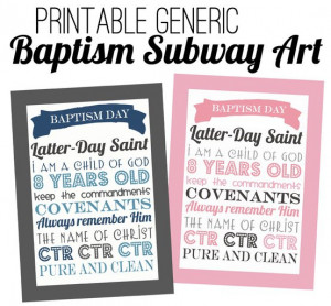 LDS Baptism Subway Art
