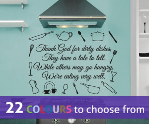 THANK GOD for dirty DISHES quote wall sticker decal art