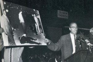 Malcolm X at a rally for Ronald Stokes, a NOI member who was murdered ...