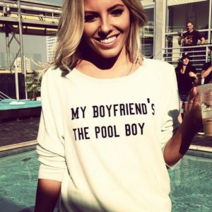 sweater quote on it shirt boyfriend poolboy cute longsleeve white ...