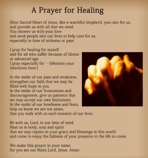 Prayer For Healing The Sick The prayer for healing